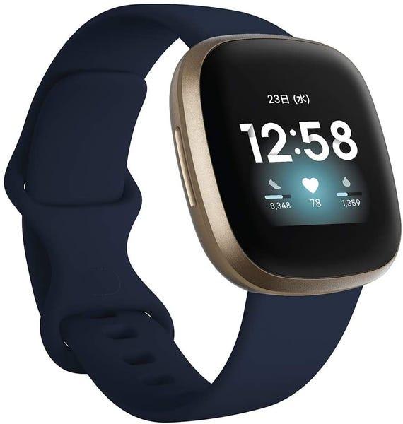 Fitbit Versa3 Alexa搭載/GPS搭載 スマートウォッチ Midnight/Soft Gold ミッドナイト/ソフトゴールド