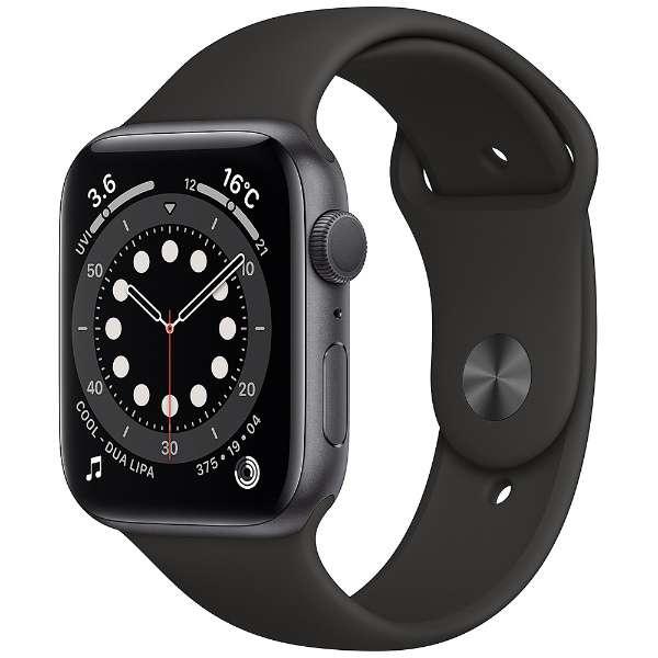 [新品]Apple Watch Series 6(GPSモデル)- 44mmスペースグレイアルミニウムケースとブラックスポーツバンド - レギュラー M00H3J/A[もらえるレンタル®]