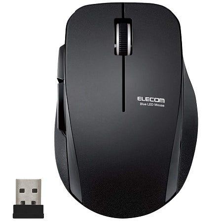 エレコム ワイヤレスマウス (レシーバー付属) Mサイズ 5ボタン (戻る・進むボタン搭載) 静音 ブラック