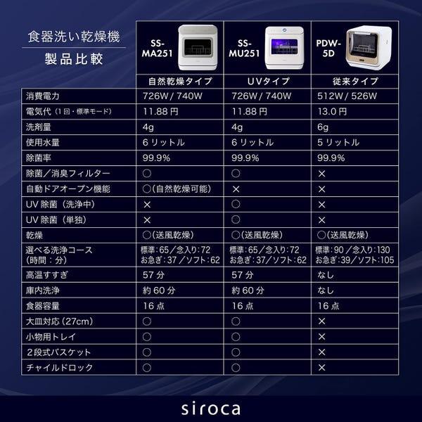 [新品14泊~] siroca 食器洗い乾燥機 アドバンスシリーズ SS-MU251[工事不要/UV除菌タイプ]