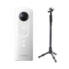 全天球カメラ RICOH THETA SC ホワイト& SLIK 一脚兼簡易三脚 セット