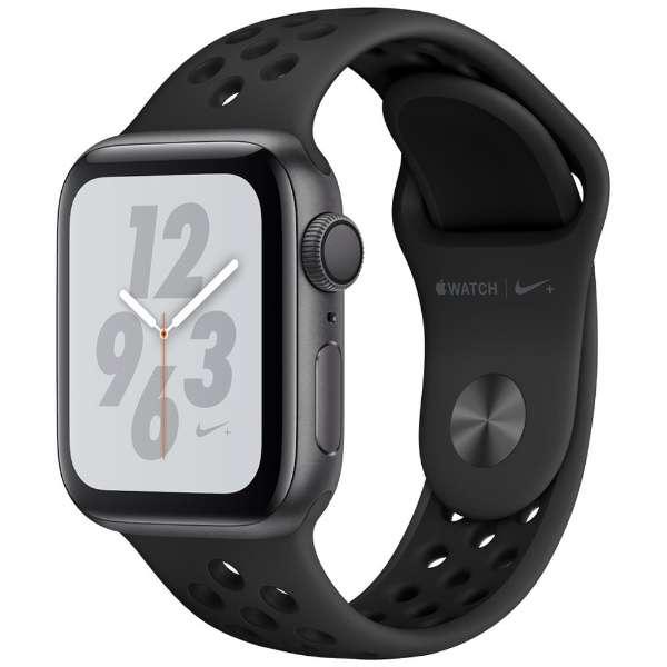 [新品] Apple Watch Nike+ Series 4(GPSモデル)- 40mm スペースグレイアルミニウムケースとアンスラサイト/ブラックNikeスポーツバンド MU6J2J/A