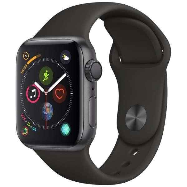 [新品] Apple Watch Series 4(GPSモデル)- 40mm スペースグレイアルミニウムケースとブラックスポーツバンド MU662J/A   [もらえるレンタル®]