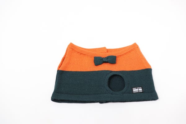 【Musio(ミュージオ)公式ウェア】ニットTシャツ オレンジ&モスグリーン