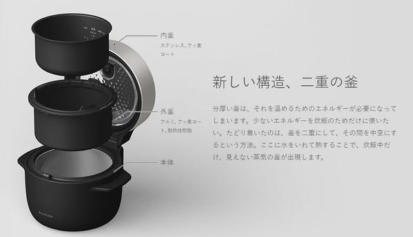 BALMUDA バルミューダ 炊飯器 The Gohan ブラック K03A-BK